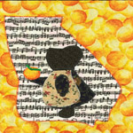 georgia sunbonnet sue quilt block holding a peach singing georgia on my mind