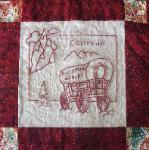 colorado redwork quilt block