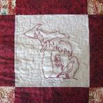 michigan redwork quilt block