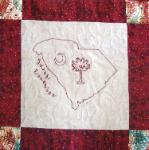 south carolina redwork quilt block