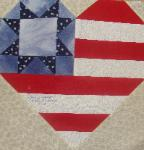 heart usa flag quilt block