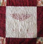usa redwork quilt block